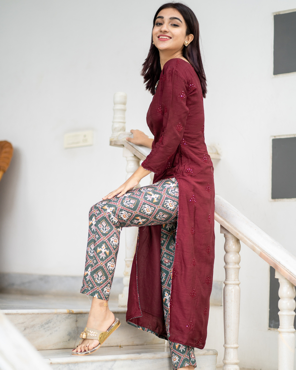 Maroon embroidered kurta with patola pants - set of two 2