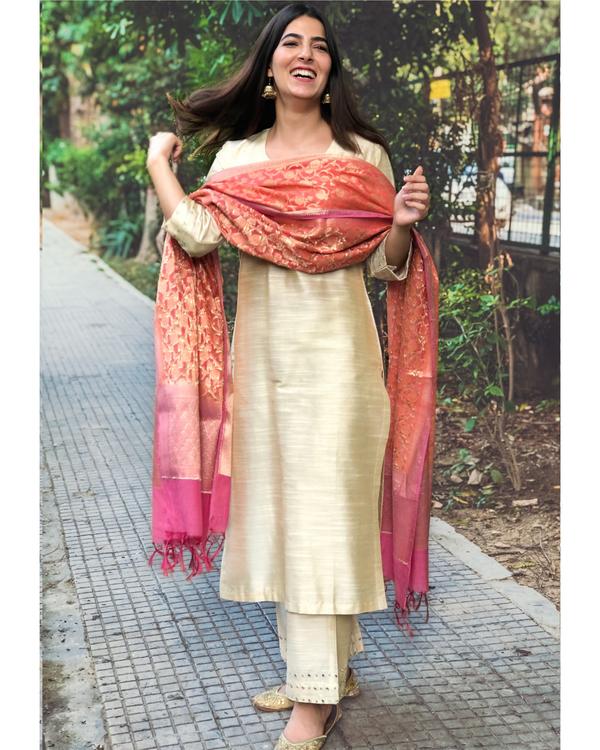 Beige cotton silk kurta set with  chanderi Benarasi dupatta - Set of three 1