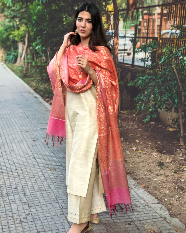 Beige cotton silk kurta set with  chanderi Benarasi dupatta - Set of three 2
