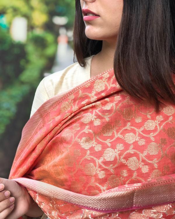 Beige cotton silk kurta set with  chanderi Benarasi dupatta - Set of three 3
