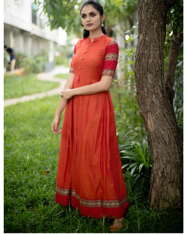 Orange box pleated narayanpet handloom dress 1
