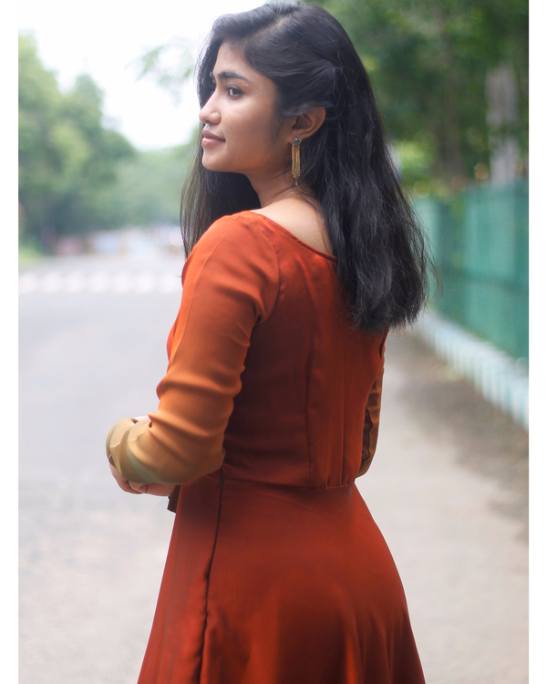 Ombre rust brown fit and flare dress 3