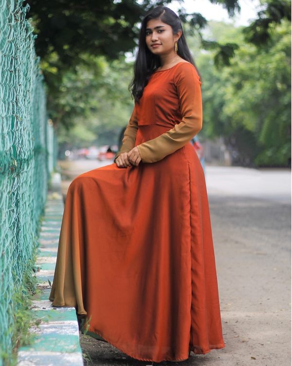 Ombre rust brown fit and flare dress 2