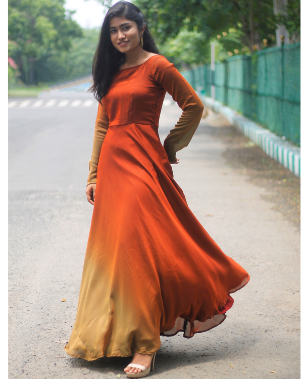 Ombre rust brown fit and flare dress 1