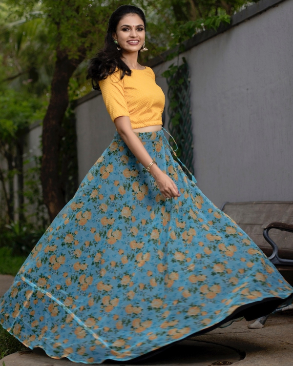 Yellow and blue floral printed organza skirt with banarasi crop top-set of two 1