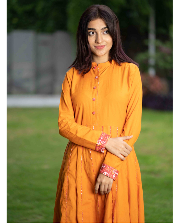 Mustard cotton cape with patola pants - set of two 1