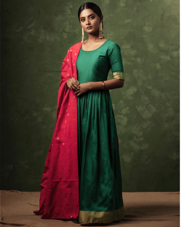 Emerald green and gold zari dress with dupatta-set of two 2