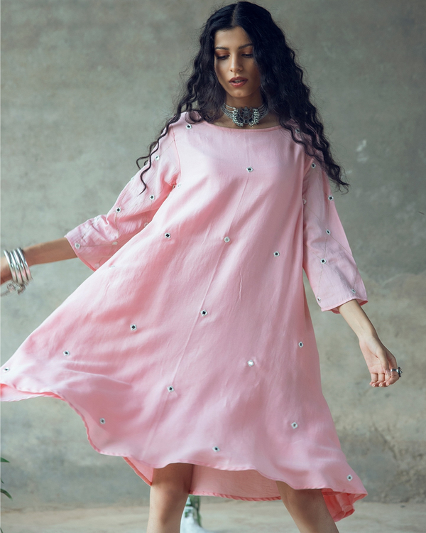 Pink swing dress with mirror work 1