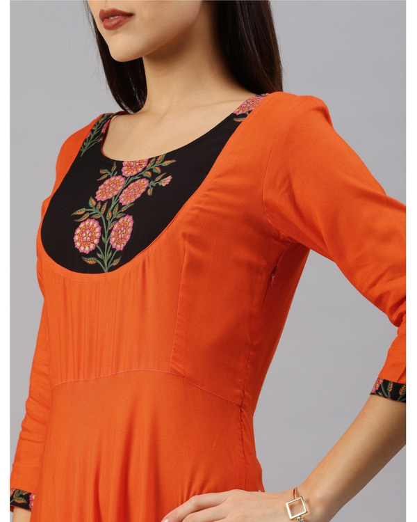 Orange fit and flare dress with yoke 3