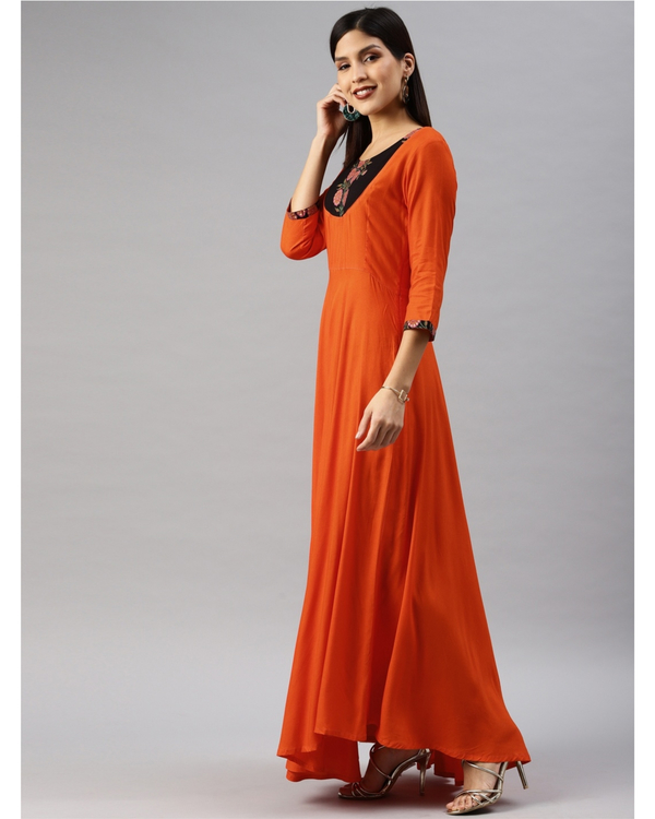 Orange fit and flare dress with yoke 1