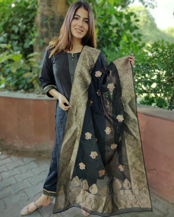 Black Cotton Silk Suit Set with Organza Dupatta - Set of Three 1