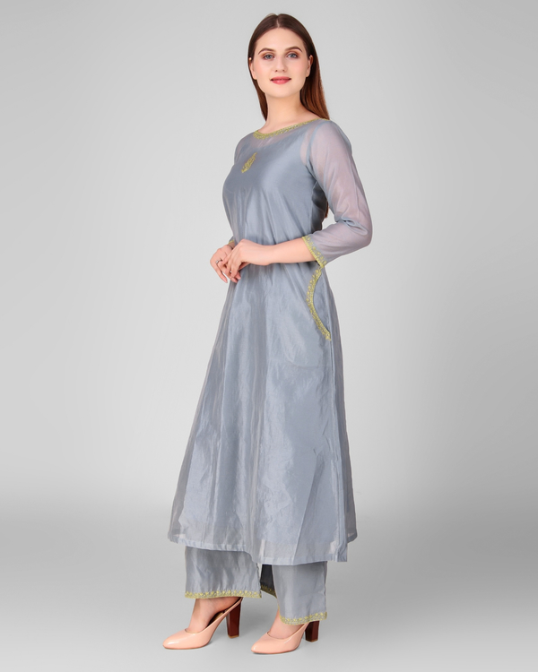 Grey chanderi embroidered suit set - set of three 2