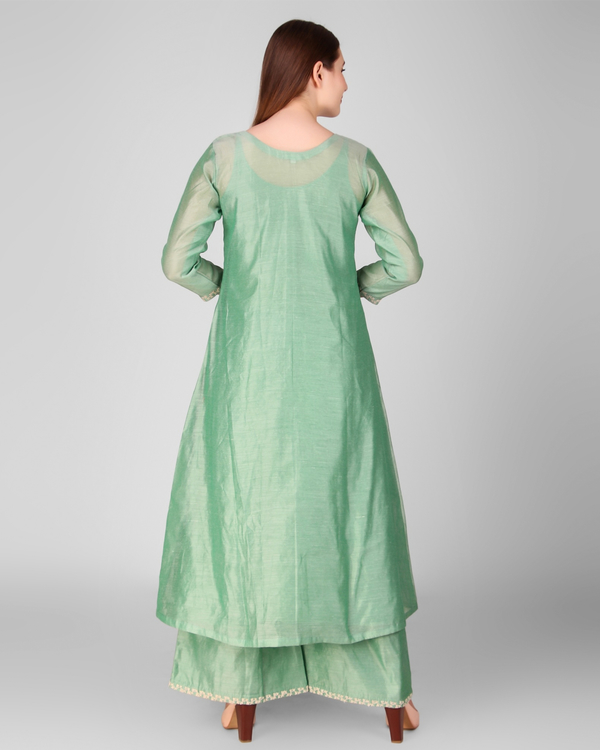 Green chanderi embroidered suit set - set of three 3