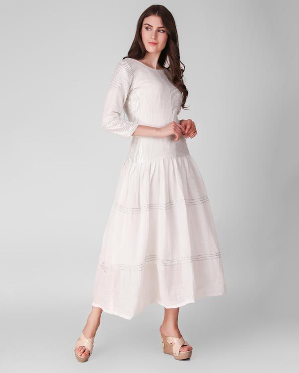 Ivory cotton crepe and lurex stripe gathered dress 2