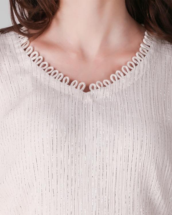 Ivory cotton crepe lurex dress - set of two 1