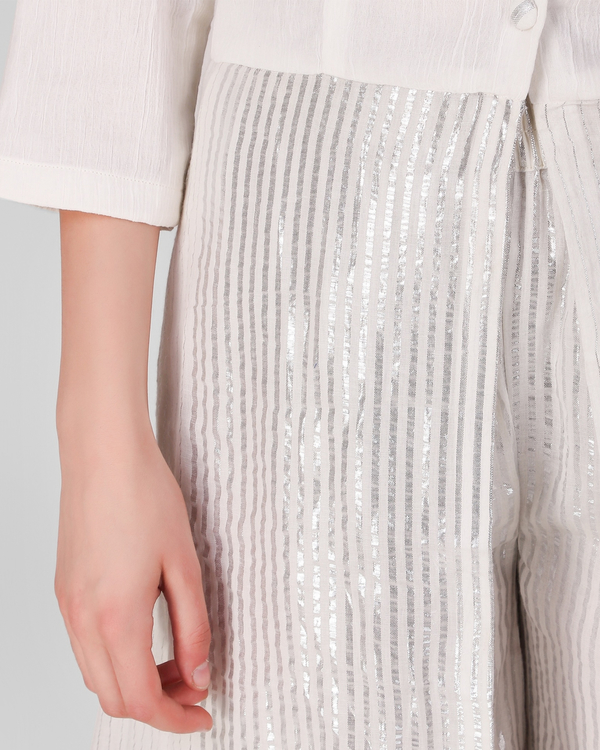 Ivory cotton crepe button down overlay with lurex stripes pant - set of two 4
