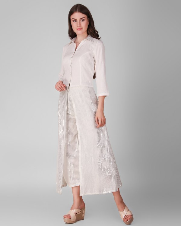 Ivory cotton crepe button down overlay with lurex stripes pant - set of two 2