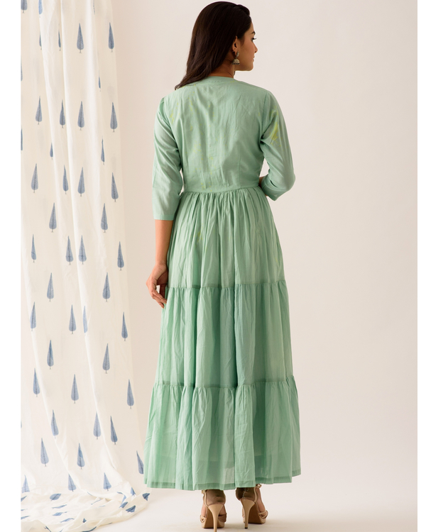 Mint frilled anarkali dress 2
