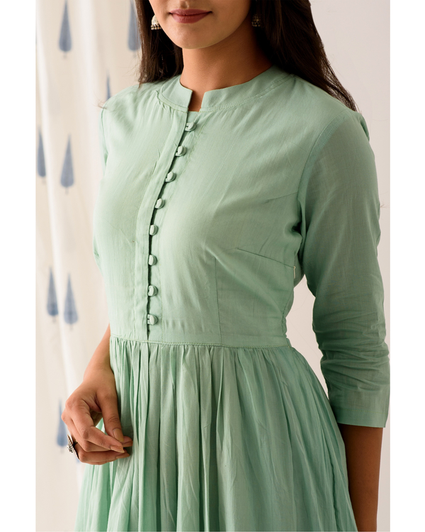 Mint frilled anarkali dress 1