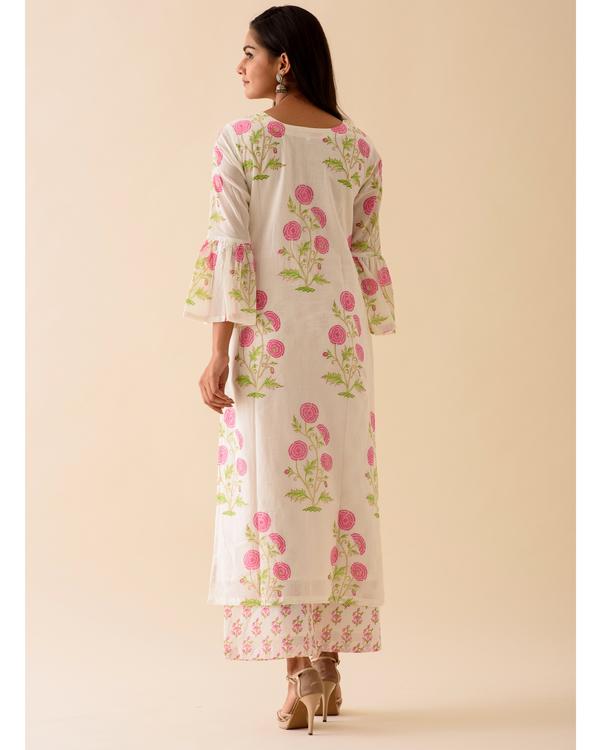 Pink peony bell sleeved block printed kurta 2