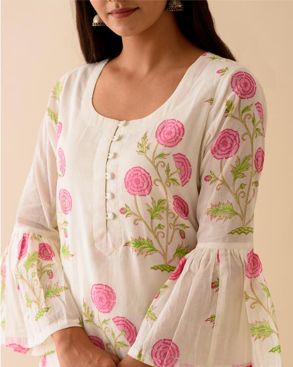 Pink peony bell sleeved block printed kurta 1