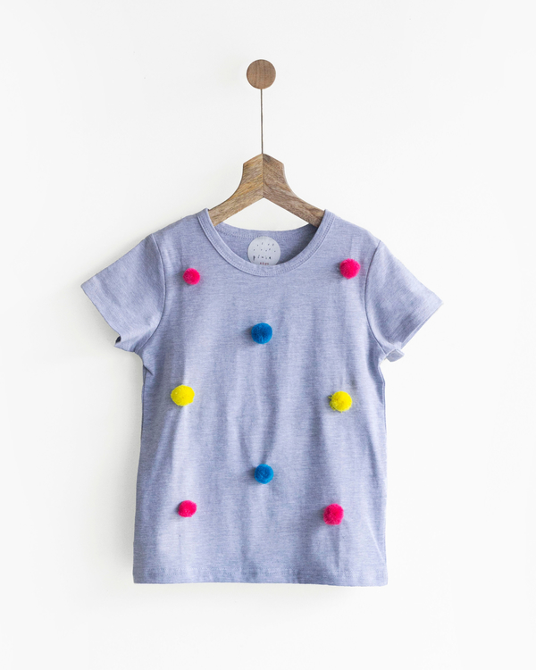 Pluie grey & rainbow happy pom pom tee 1