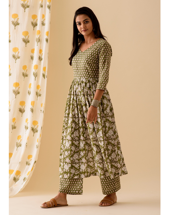Green block printed kurta 2