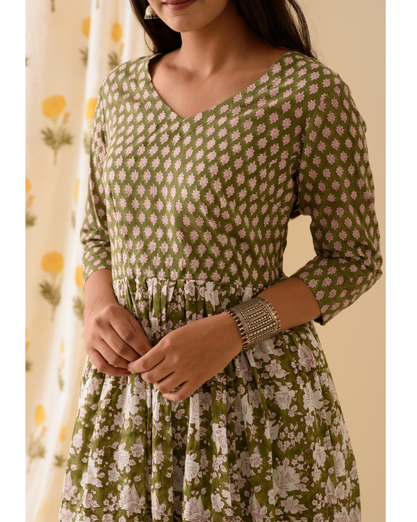 Green block printed kurta 1