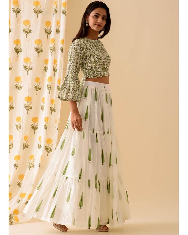 Green and off white crop top with skirt-set of two 3