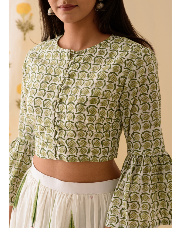 Green and off white crop top with skirt-set of two 2