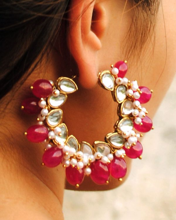 Cherry red hoop earrings 1