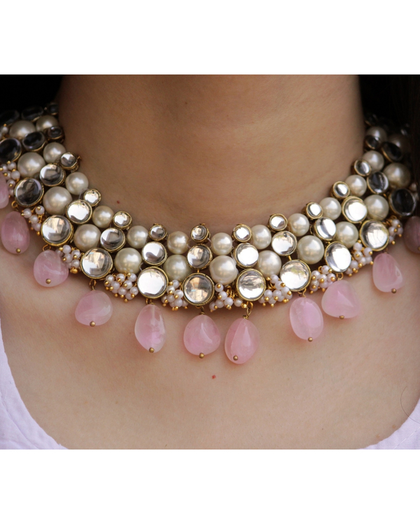 Baby pink kundan necklace and earrings - set of two 3