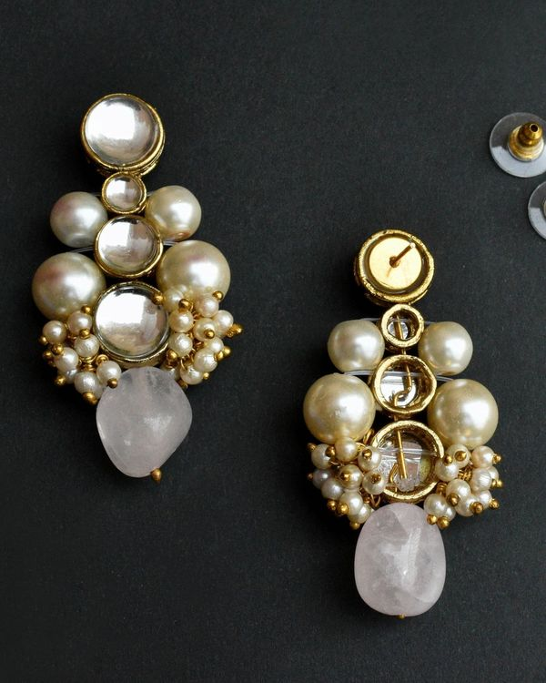 Baby pink kundan necklace and earrings - set of two 2