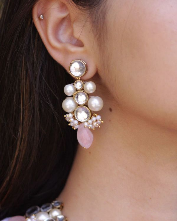 Baby pink kundan necklace and earrings - set of two 1
