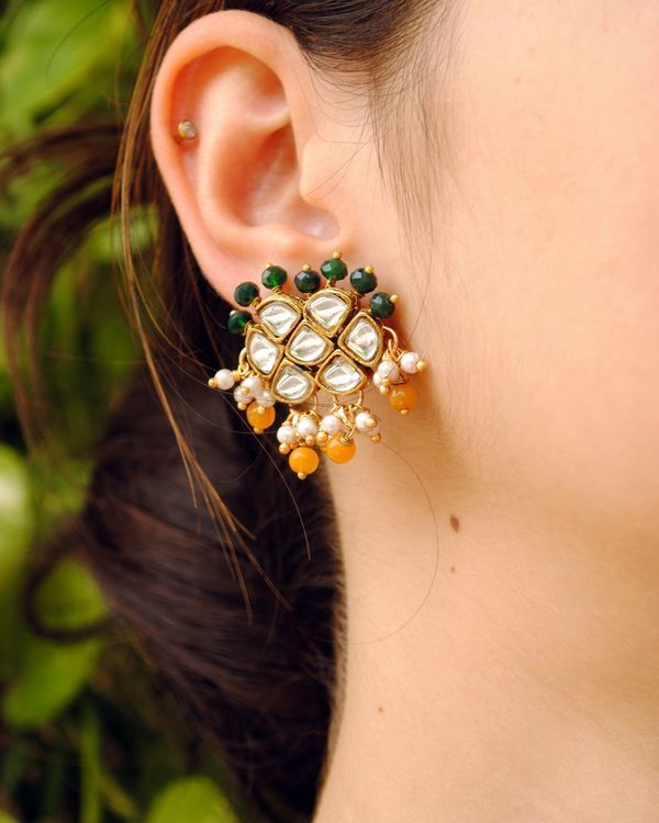 Green and orange beaded kundan necklace and earrings - Set Of Two 2