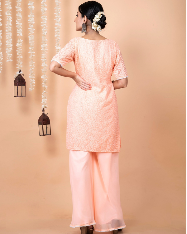 Peach lucknowi suit with palazzo and dupatta - set of three 3