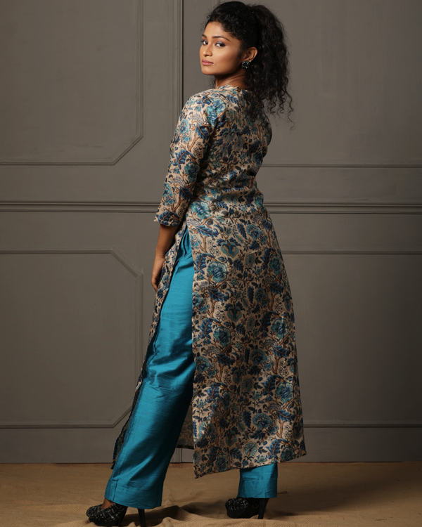 Beige tusser floral printed kurta with blue pant - set of two 4