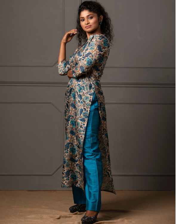 Beige tusser floral printed kurta with blue pant - set of two 2