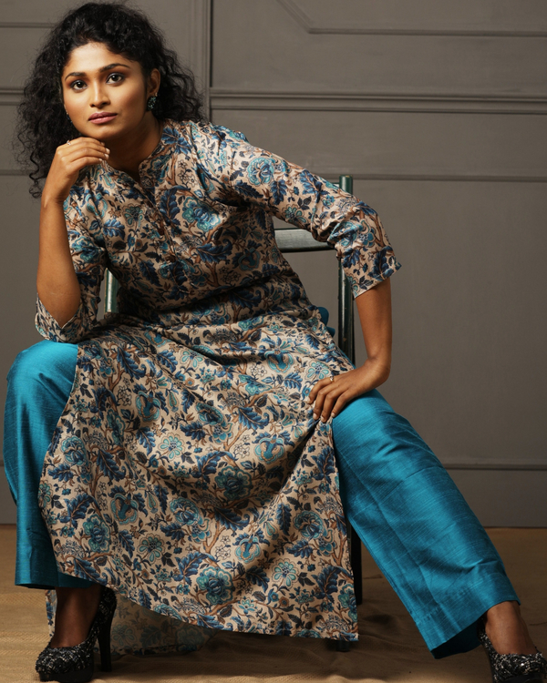 Beige tusser floral printed kurta with blue pant - set of two 1