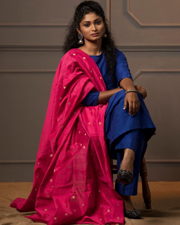 Royal blue kurta and pant with rani pink dupatta - set of three 3