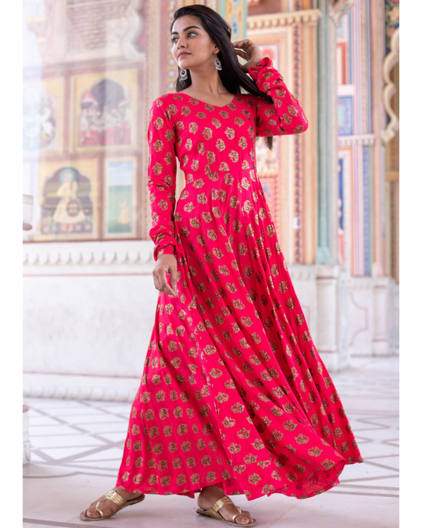 Bright Pink Foil Printed Flared Dress 3