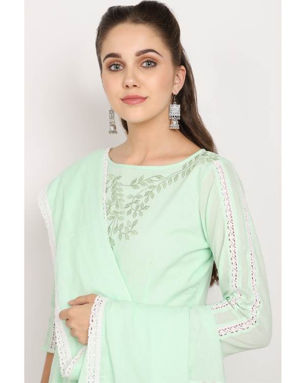 Mint green printed suit set with crochet embroidered dupatta - set of three 2
