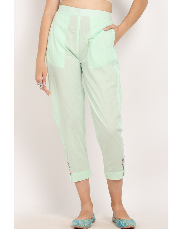 Off white and mint green bandgala suit- set of two 3