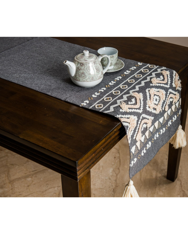 Grey and off white diamond small table runner 1