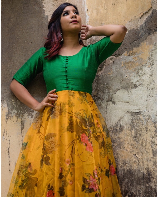 Green and yellow floral organza dress 2