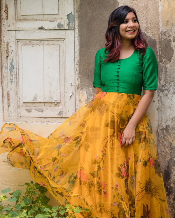 Green and yellow floral organza dress 1