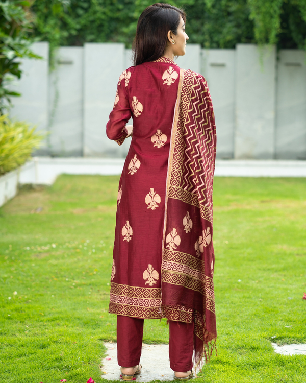 Maroon Chanderi Cotton Suit Set with Gold Printed Motifs - Set of Three 6