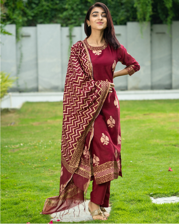 Maroon Chanderi Cotton Suit Set with Gold Printed Motifs - Set of Three 3