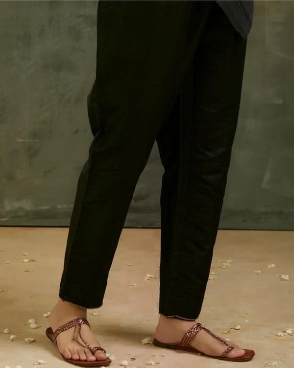 Charcoal black aari embroidered kurta set with black dupatta- Set of three 3