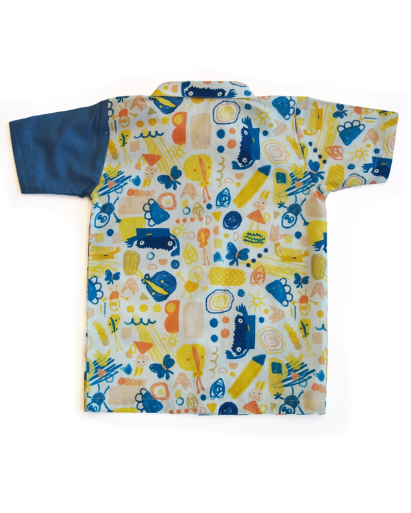 Scridoodle shirt with contrast printed pocket 2